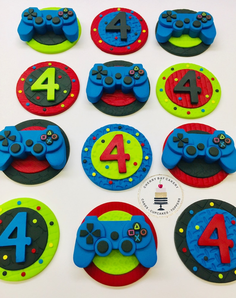 Video Game Birthday Party Video Game Cupcake Toppers Fondant Etsy