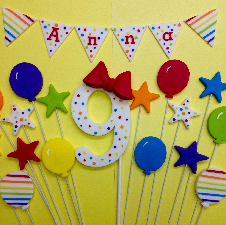 Fondant 1st Birthday Rainbow Cake Topper Set Number