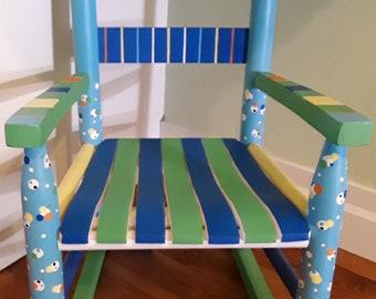child/'s rocking chair girls rocking chair pink flower cottage rocker hand painted rocking chair