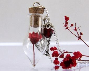 Terrarium Necklace,Mini Terrarium Pendant,Real Flower Necklace,Red Flower Necklace, Glass Bottle Necklace, Dainty Necklace