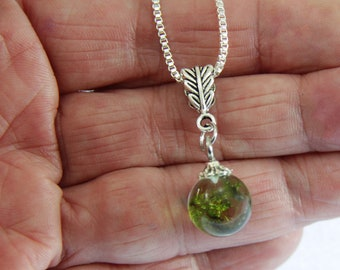 Moss Necklace, Dainty Necklace, Resin  Necklace, Nature Lover, Layering Necklace, Woodland Necklace, Terrarium Necklace