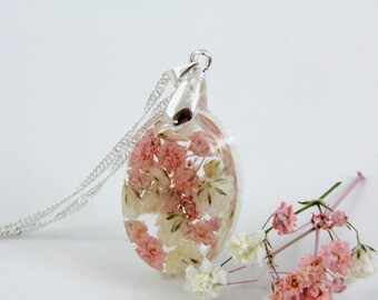 Baby Breath Necklace, Pink Necklace, Dainty Necklace, Blush Pink Necklace, Necklace, Terrarium Necklace, Resin Flower, Real Flower Necklace