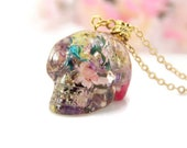 Skull Necklace With Flowers, Day of The Dead Skull, Sugar Skull Necklace, Colorful Skull Necklace, Floral Skull, Crystal Skull