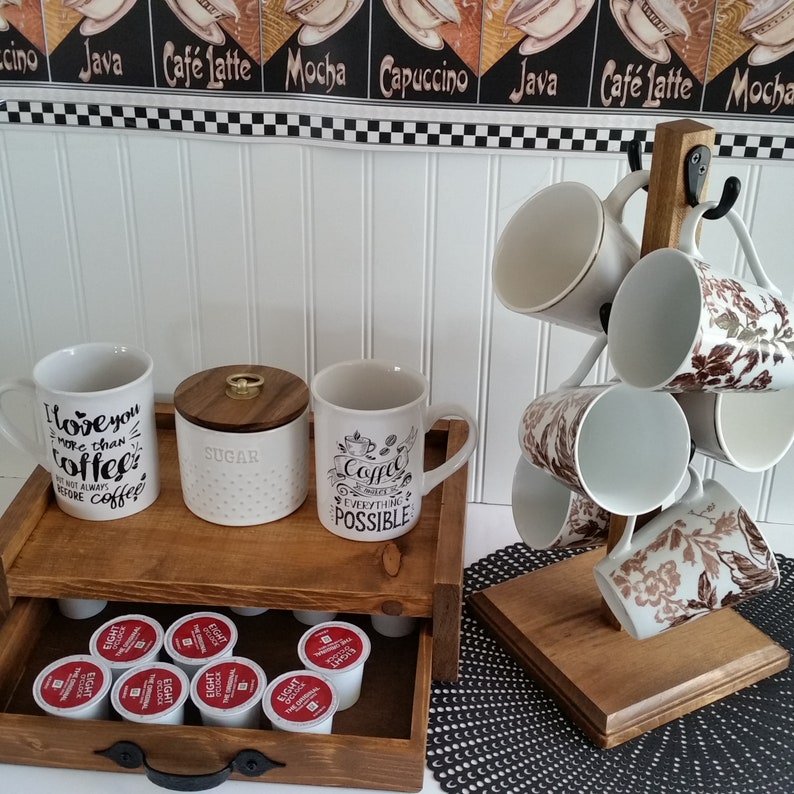 Rustic Mug Stand K Cup Storage Holder 6 Hook Farmhouse Etsy