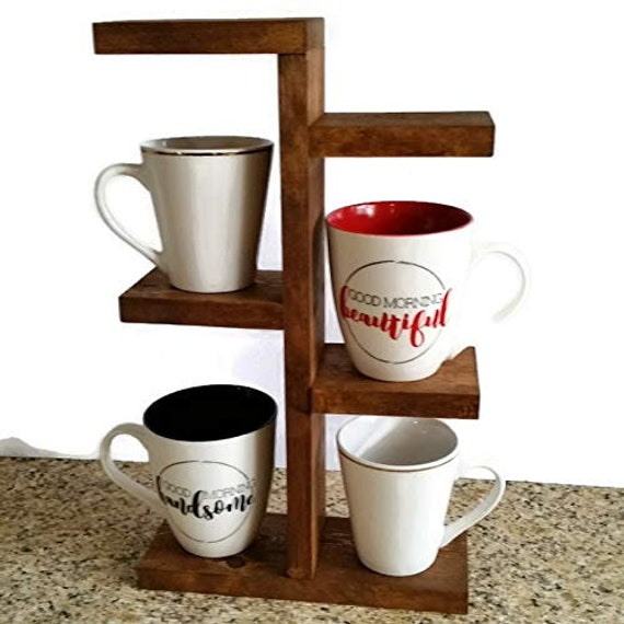 Rustic Mug Stand Coffee Cup Holder Wood Plant Stand Etsy
