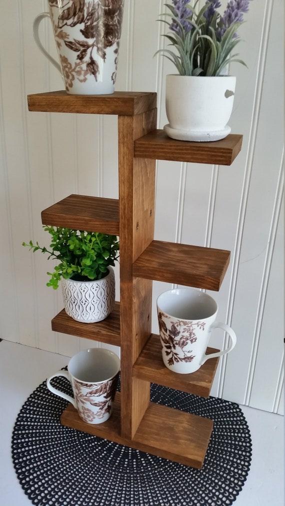 Wood Coffee Mug Holder Stand for 8 Mugs Coffee Bar Stand with 8 Hooks-White Coffee Cup Rack Rustic Wooden Mug Tree Farmhouse Mug Holders for Counter