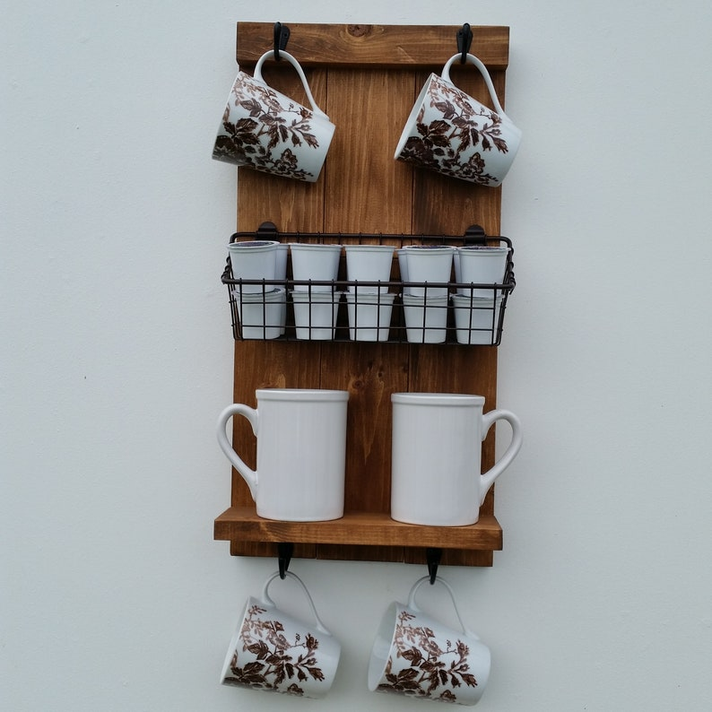 Wall Mounted Coffee Mug Holder/ Cup Rack/ K-Cup Holder / Shelf image 7