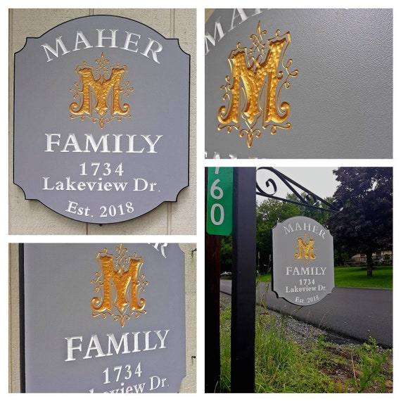 Lake House Retreat Outdoor Custom, Lamp Post Hanging Address Sign