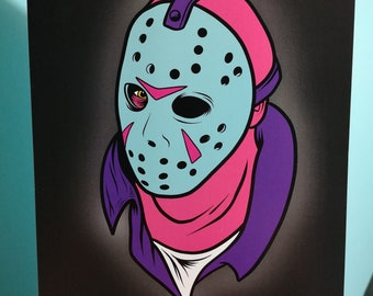 Crystal Lake Killer | Friday The 13th | Jason Voorhees | horror art | halloween | cult horror | hockey mask | poster | classic horror | A4