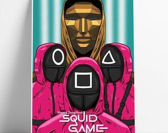 Squid Game alternative poster   Netflix   movie   film   front man   Wall art   Gi-hun   Sangwoo   art print  home decor   gift   A4 A3