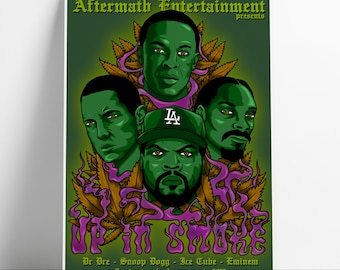 Up In Smoke Tour A3 poster   standard edition   Dr Dre   Snoop Dogg   Eminem   Ice Cube   Hip Hop   limited edition   rapper   art print