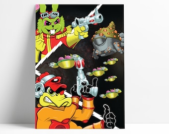Bucky O'Hare inspired A3 art print | retro | classic | cartoons | 80s | 90s | Deadeye Duck | Toad Wars | Let's Croak Us Some Toads