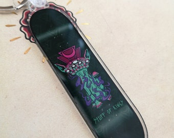 Rite Of Passage skateboard keyring | tattoo | sphinx cat | skateboarding | gothic | keychain | occult | keys | acrylic | goth | dark art |