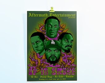 Up In Smoke Tour A3 poster | standard edition | Dr Dre | Snoop Dogg | Eminem | Ice Cube | Hip Hop | limited edition | rapper | art print
