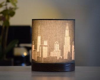 Chicago Skyline Drum Lamp Mini Bookshelf Made To Order
