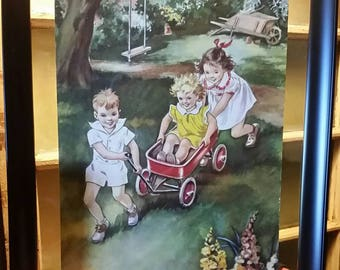 1950s Children Playing Outside print in floating frame