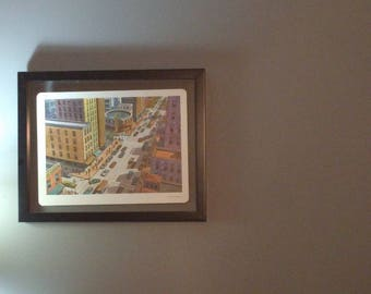 Mid Century city print in floating frame