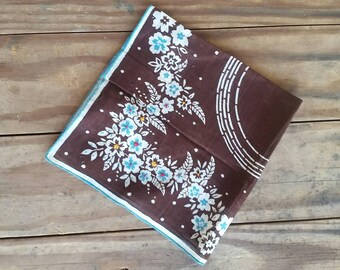 1940s to 50s style linen brown and turquoise handkerchief