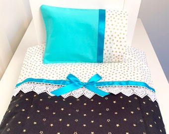 doll bedding for 18 inch american girl blanket pillow set aqua butterfly lace 2