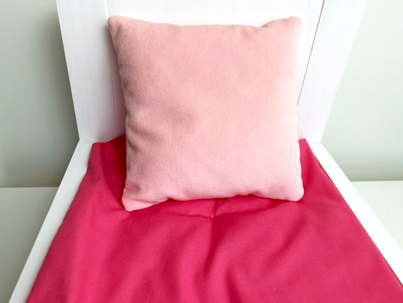 Handmade Doll Afghan with Pillow-Pink//White and Blue