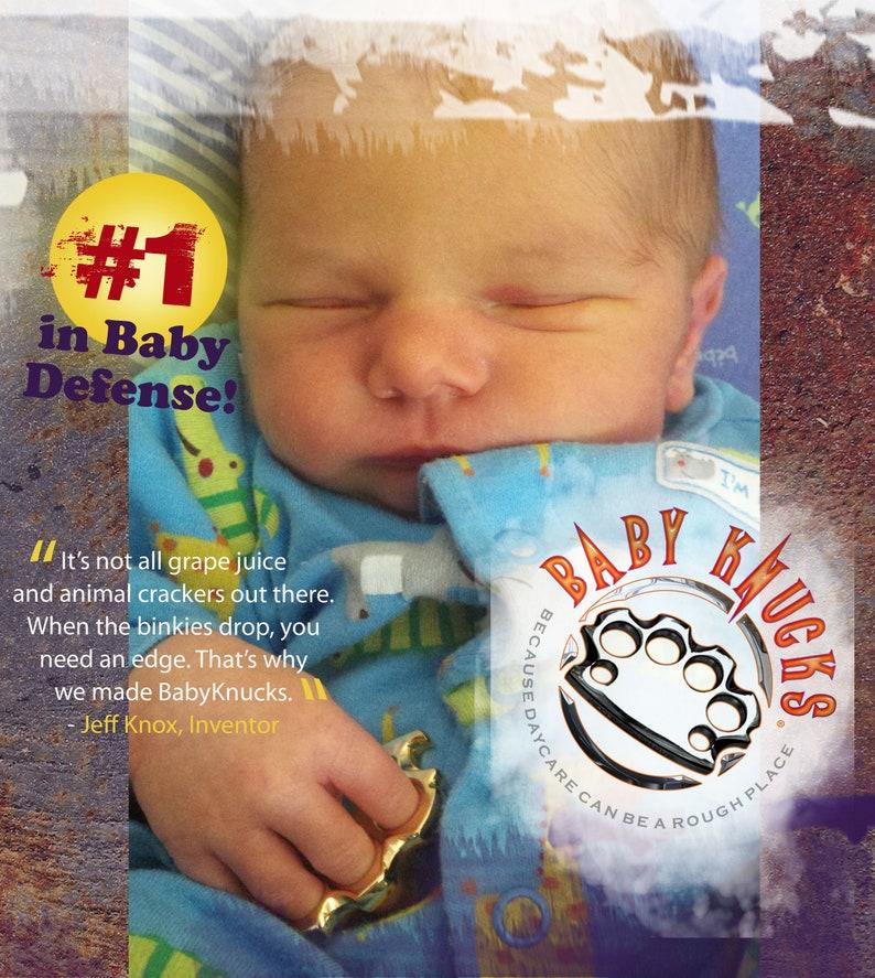 BabyKnucks baby Brass or Silver knuckles self defense charm image 0