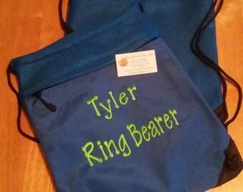 Ring Bearer Drawstring Gym Bag Overnight Book Kids Beach Pool Dance BagBirthday Gifts Flower Girl Wedding Gift