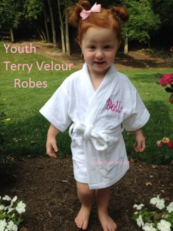 65105083e7 Flower Girl Robe Personalized robe Terry Velour spa robe