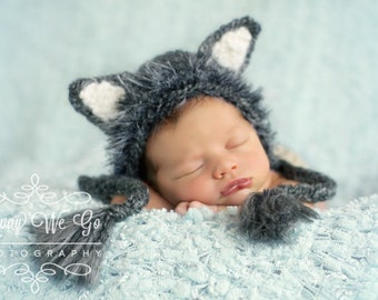 9d81278afcb Newborn Boy Prop - Wolf Bonnet - Made to Order in 3-4 Weeks - Wolf Hat - Boy  Bonnet - Baby Boy Prop - Baby Wolf Costume - Baby Wolf Hat