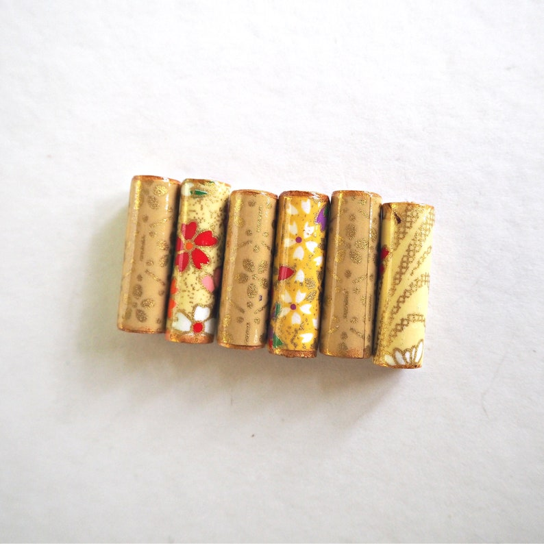 yellow beads Japanese beads Paper beads