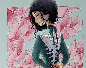 DISROBE - 11x17 Skeleton Floral Gown Haunted Ghost Girl Creepy Surreal Scary Egirl Aesthetic Art Poster Print