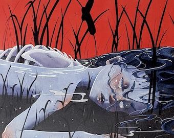 RESERVOIR - 11x17 Corpse Lake Water River Head Body Horror Creepy Surreal Scary Egirl Aesthetic Junji Ito Art Poster Print