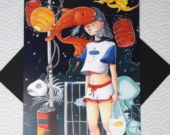ERRANDS - 11x17 Art Print - Night Time City Life Light Melancholy Poster Girl Flying Fish Skeleton Egirl Aesthetic Surreal Illustration