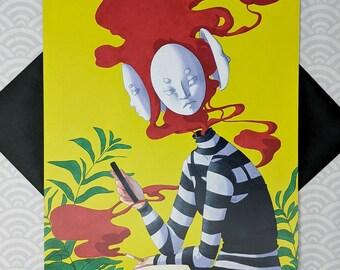 UPDATE - 11x17 Masks Red Smoke Ferns Lime Green Creepy Surreal Scary Egirl Aesthetic Horror Macabre Art Print