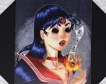 MONSTROUS MINI MARS - 5.5x8.5 Sailor Mars Rei Hino Creepy Shinto Fire Third Eye Sailor Moon Anime Inspired Art Postcard Print