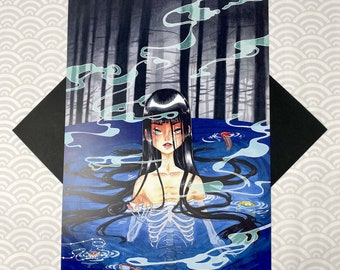 LAKE SPIRIT - 11x17 Haunting Ghost Yokai Yurei Skeleton Horror Water Forest Haunted Possessed Creepy Surreal Scary Egirl Art Poster Print