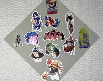 CREEPIES STICKERS - Original Art Surreal Vinyl Stickers Junji Ito Guro Egirl Anime Inspired Shintaro Kago Goth Horror Unique Macabre Moogle