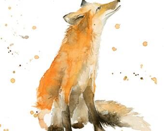 Fox art print, fox wall art, Watercolor fox print by Katrina Pete. Fox looking up into the sky, woodland animals, woodland nursery art