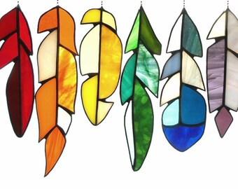Stained Glass Feather Collection in Rainbow Colors