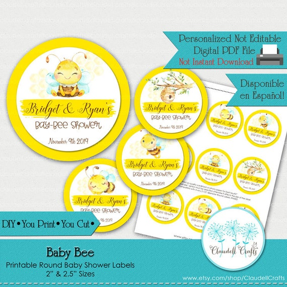 graphic relating to Printable Baby Shower Labels named Youngster Bee Printable Child Shower Labels/Tags/Bash Circles 2.5