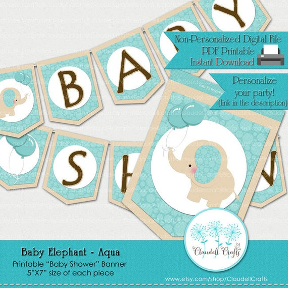 photo relating to Printable Baby Shower Banners named Youngster Elephant - Aqua Child Shower Printable Kid Shower