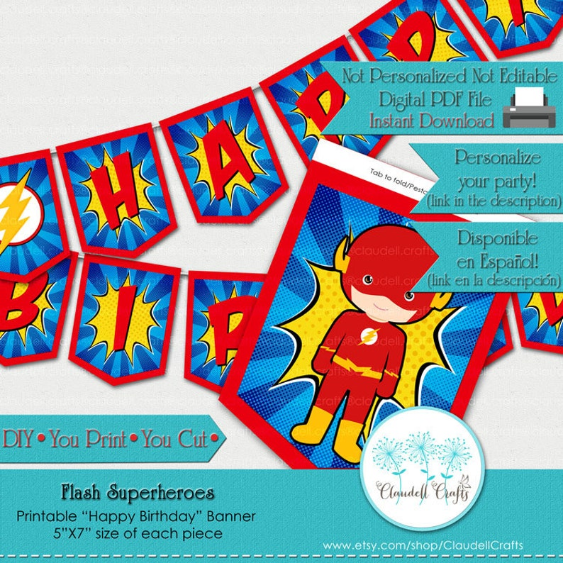 Flash Superheroes Avengers Inspired Birthday Party Printable image 0