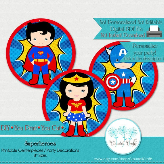 5e51ecaad Superheroes Inspired Printable Centerpiece/Balloon Stickers/Plates/Party  Circles/Wall Decorations/Cake Topper /DIY /You Print /You Cut