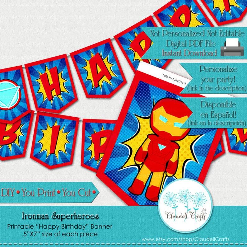 Ironman Superheroes Avengers Inspired Birthday Party Printable image 0