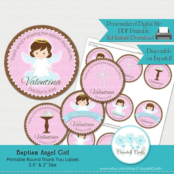 picture relating to Printable Thank You Labels referred to as Baptism Angel Lady Printable Thank By yourself Labels / Tags / Celebration