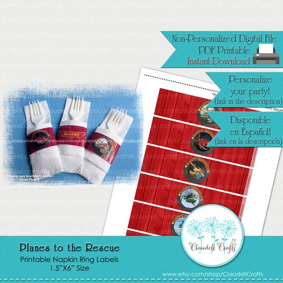 photo regarding Printable Napkin Rings identify Planes in direction of the Rescue Impressed Printable Napkin Rings