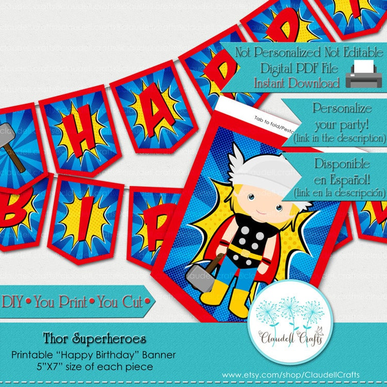Thor Superheroes Avengers Inspired Birthday Party Printable image 0