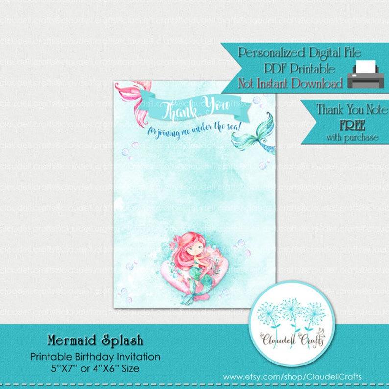 Mermaid Splash Printable Birthday Invitation Card