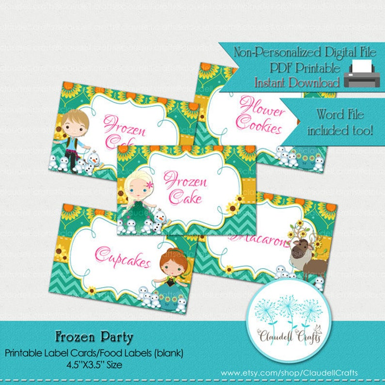 graphic regarding Frozen Printable Labels identify Frozen Bash Motivated Printable Label Playing cards (Blank) / Food stuff Labels / Seating Playing cards / Tent Playing cards / Etiquetas para Mesa