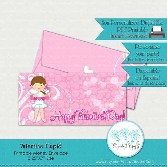 photo about Printable Money Envelope referred to as Valentine Cupid Printable Economic Envelope / Sobre Dinero San