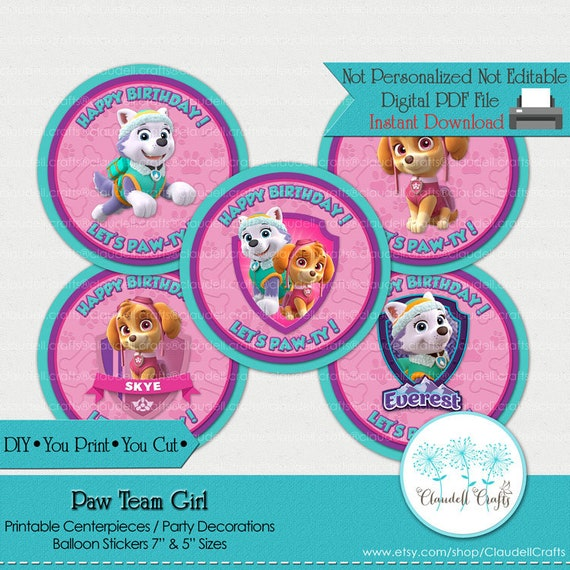 Peachy Paw Team Girl Inspired Printable Centerpiece Balloon Download Free Architecture Designs Scobabritishbridgeorg